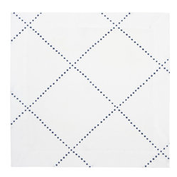 Huddleson Linens - Anfa Blue and White Linen Napkin (Set of Four) - Four perfect little blue and white cloth napkins, lining your table and inviting your guests to be as messy as they want to be because they have it elegantly covered. Moroccan tile motif on fine Italian linen, they are casual and elegant at once, but the best part is that they are completely machine washable.