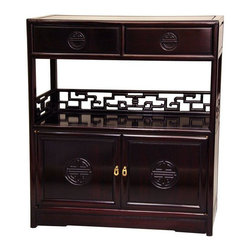 "Oriental Furniture - Rosewood Long Life Display Cabinet - Rosewood - A classic, compact oriental tea chest, a popular design in Japanese and Chinese cabinet making traditions. Solidly crafted from fine quality, dark Cherry stained Rosewood, with unique ""Shou"" symbol medallions, and intricately carved geometric ""key"" design center and side rails. The overhead drawers were designed for storing bags of loose tea, the lower cabinet for porcelain pots and cups, and a center shelf for preparing the tea service. These cabinets are not deep, and don't take much floor space in the living room, bedroom, hall way, or landing."