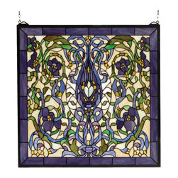 Meyda - 22 Inch W X 22 Inch H Floral Fantasy Window Windows - Color Theme: Beige Pbwg Pr