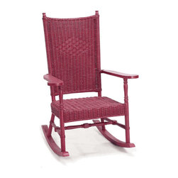 """Hamptons Wicker Rocking Chair - Something about this rocker screams """"PUT ME ON A PORCH LOOKING OUT AT A LAKE IN THE ADIRONDACKS!"""" Perhaps rocking in it will transform you to a place like that."""