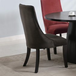 Coaster - Amhurst Collection Brown Dining Chair, Set of 2 - Curvaceous legs and a bowed back give this dining side chair an intriguing silhouette, adding interest to the dining room. Comfortably upholstered seats and backs form to the contours of your body, creating a cozy dinner experience. This chair captures the aura of classic casual dining for an inviting dining room allure.