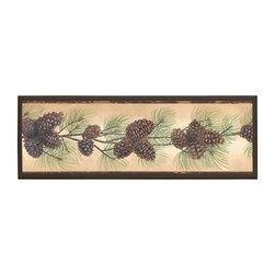 illumalite Designs - Pine Cone Plaque - This charming floral plaque is the perfect addition to any room. Measuring 7 in. by 20.5 in., this plaque is the ideal size to add a floral touch to any wall. The hand painted brown colored border highlights the beautiful design