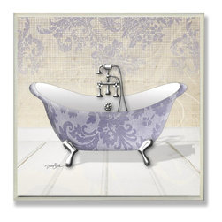 Stupell Industries - Purple and White Claw Tub Bath Plaque - Made in USA. Ready for Hanging. Hand Finished and Original Artwork. No Assembly Required. 12 in L x 0.5 in W x 12 in H (2 lbs.)What better way to add class to your home than with a wall plaque from the Stupell Home Decor Collection? Made in the USA and featuring original artwork,you are sure to find the perfect match for wherever you are looking to design. Each plaque comes mounted on sturdy half inch thick mdf and features hand painted edges.  It also comes with a sawtooth hanger on the back for instant use.