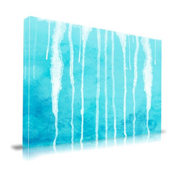 "Apt2B - 'Drips' Print by Maxwell Dickson, 18"" x 24"" - An expanse of soothing, watery blue is striped by accidental-looking drips, projecting a Zen mixture of calm and spontaneity. This piece's simple, abstract composition will work well in minimalist modern decor settings, and the flowing, organic drip lines will gently temper the straight lines of your contemporary furnishings."