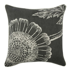 """Thomas Paul - Floral Throw Pillow - The handmade Thomas Paul Floral throw pillow features a hand screened vintage botanical print on an unbleached cotton/linen blend.  The print's coloration is reversed on either side of the pillow. The throw pillow has piped edges and comes with a feather insert. The pillow adds a pop of print to a sofa or bed. This is one of those unique items that pairs well with other prints or solids.   About the Artist: After graduating from NYC's famed FIT, Thomas Paul started his career as a colorist and designer at a silk mill. Eventually, he leveraged his knowledge of silk materials & print to launch a neckwear line of his own. Over time, Paul loved the idea of applying menswear print and design into a collection of home decor, which is what we see in his goods today. His background has embedded in him a passion for quality production techniques. Even as his brand grows, he continues to ensure all of his prints are hand screened - a slow, detailed process that results in each piece being a unique piece of artwork. Paul also pushes the envelope in terms of bold prints and hand ground materials.       """"My vision for the thomaspaul brand has always been about combining classic design motifs from different periods in textile design. Incorporating anything from an 18th century Damask pattern to a camouflage print. The unifying thread between so many different styles is to change the designs so they are updated for today. For me this means changing the scale, so they are always bold, and reducing down the colors and details, so most designs are reduced to two or three colors and become very flat, bold prints. I am always looking to vintage fabrics and motifs for inspiration and new ideas, but always try to update these to look good for today."""" - Thomas Paul   Product Details:"""
