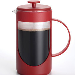 BonJour - BonJour 'Ami-Matin' Red 8-cup Unbreakable French Press - This Ami-Matin Unbreakable French Press from BonJour includes a patented shut-off infuser, stainless steel rod and silicone gasket. This classic bistro-style carafe is made from BPA-free Tritan plastic.