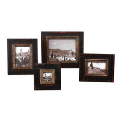 Kitra Distressed Black Photo Frames, Set/4 - Distressed Black Wood Frames With Antiqued Gold Inner Lip. Holds Photo Sizes: 3x3, 4x6, 5x7, 8x10. Frame Sizes: Sm-8x8x1, Med-11x13x1, Lg-12x14x1, Xl-15x17x1