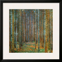 Artcom - Tannenwald (Pine Forest), c.1902 by Gustav Klimt - Tannenwald (Pine Forest), c.1902 by Gustav Klimt is a Framed Art Print set with a SOHO Black wood frame and a Polar White mat.