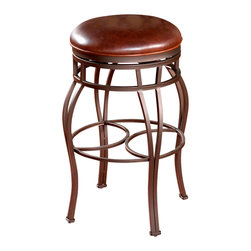 American Heritage - American Heritage Bella - Backless Stool in Pepper - 34 Inch - The pepper colored hand painted curved frame provides a wide base for support. The bourbon colored leather on the 360 degree full bearing swivel seat gives you the comfort you deserve.