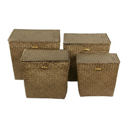 Oriental Furniture - Hand Woven Rush Grass Storage Tote ( Set of 4 ) - This set of four hand woven storage bins is crafted of eco-friendly rush grass. The varying sizes make this set perfect for use in different areas of the house, or use them all together in a craft or playroom to maximize storage and organization.