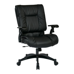 Office Star - Office Star Black Eco Leather Conference Chair - SPACE Seating Black Eco Leather Conference Chair with Cantilever Arms, and Gunmetal Finish Base What's included: Office Chair (1).