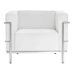 "Modway - Le Corbusier LC3 Armchair in White - Urban life has always a quandary for designers. While the torrent of external stimuli surrounds, the designer is vested with the task of introducing calm to the scene. From out of the surging wave of progress, the most talented can fashion a forcefield of tranquility. Perhaps the most telling aspect of the LC3 series is how it painted the future world of progress. The coming technological era, like the externalized tubular steel frame, was intended to support and assist human endeavor. While the aesthetic rationalism of the padded leather seats foretold a period that would try to make sense of this growth. The result is an iconic sofa series that became the first to develop a new plan for modern living. If previous generations were interested in leaving the countryside for the cities, today it is very much the opposite. If given the choice, the younger generations would rather live freely while firmly seated in the clamorous heart of urbanism. The LC3 series is the preferred choice for reception areas, living rooms, hotels, resorts, restaurants and other lounge spaces. Includes: One - Le Corbusier LC3 Armchair; Mid-Century Modern Armchair; Genuine Leather Seating Surface; Tubular Stainless Steel Frame; Foot caps to prevent scratching; Dimensions: 35""L x 26""W x 27.5""H; Seat: 21""L x 23.5""W x 16.5""H; Seat Back Height: 12""H; Armrest Height: 27.5""H"