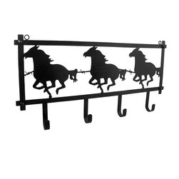 Zeckos - Horse Silhouettes and Barbed Wired Rustic Decorative Western Style Wall Hook - Add a little Western flair to your wall with this horse silhouettes and barbed wire wall hook. It's crafted from metal and finished in a rustic brown, and measuring 23.75 inches long, 11.75 inches wide and 1.75 inches deep (59 x 30 x 4 cm), it's great near an entryway to hang coats, jackets and hats, in a bathroom for hanging robes and towels, or in the living room as an accent to your Wild West decor, and it's great as a housewarming gift sure to be loved