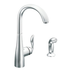 """Moen - Moen 7790 Arbor Series Single-Handle High-Arc Kitchen Faucet (Chrome) - Moen 7790 is part of the ARBOR collection. Moen 7790 has a Chrome finish. Moen 7790 is a new style high Arc Kitchen faucet. Moen 7790 mounts in 1-hole thru 4-hole sinks, has an 8 1/8"""" long and 15 1/2"""" high arc spout, and a full 12 1/2"""" from deck to aerator"""" high arc spout rotates 360? providing ability to install handle on either side. Moen 7790 single lever handle provides ease of operation. Moen 7790 includes optional 3-hole escutcheon. Moen 7790 is part of the Arbor kitchen collection with lines that deliver streamlined and timeless transitional styling that are extremely flexible and friendly to use in any homes decor. Chrome is a proven finish from Moen and provides style and durability. Moen 7790 metal lever handles meets all requirements of ADA ASME A112.18.1/CSA B125.1, NSF 61/9. Proposition 6"""". Lifetime Limited Warranty."""