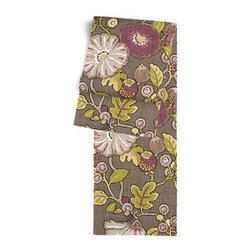 Purple & Green Modern Floral Custom Table Runner - Get ready to dine in style with your new Simple Table Runner. With clean rolled edges and hundreds of fabrics to choose from, it's the perfect centerpiece to the well set table. We love it in this large playful floral in soft purple, taupe and lime green. Feel the poppy love with this modern print.