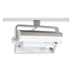 Juno Lighting - Trac-Master Mini Biax Wall Wash Head - Trac-Master biax wall wash head is a compact fluorescent track fixture that is an excellent energy efficient solution for residential, retail and commercial wall washing and display illumination. The wide distribution provides uniform illumination and focus on art and feature displays. Features computer contoured reflector and sturdy extruded aluminum housing with die-cast aluminum end caps and textured paint. 90 degree vertical aiming capability and 358 horizontal rotation. Finish available in black and white. Compatible with Trac Mater and Trac Master 2-Circuit systems. One 26 watt, 120 volt, T4 G4D-2 base fluorescent lamp, not included. General light distribution. UL listed.