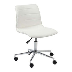 Eurostyle - Eurostyle Ashton Leatherette Swivel Office Chair in White - Leatherette Swivel Office Chair in White belongs to Ashton Collection by Eurostyle Furnish your home office with the quietly refined Euro Style Ashton Office Chair. It provides a contemporary aesthetic with its sleek leatherette and foam seat coupled with its chromed steel base. The seat swivels 360 degrees on its base and rolls on caster wheels allowing for greater maneuverability when you need to move around the office. You can alter the seat's height as you see fit with its gas lift, and find your perfect level of comfort and style with this magnificent home office chair. Office Chair (1)