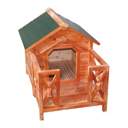 Renovators Supply - Doghouses Green/Natural Asian Fir Dog House Medium - Dog House: The dog days of summer need not be so unbearable for your pet with our beautifully crafted line of Dog Homes. Tails will wag when you provide safety, comfort & shelter from the elements for your canine companion. Cleverly crafted with window openings, these doghouses sit above ground allowing for critical air circulation ��_��_��_ keeping Rover calm & cool! Sloped roofs mean that snow & rain drip right off, keeping your pet dry & clean. Versatile & beautiful use these dog houses inside or out.