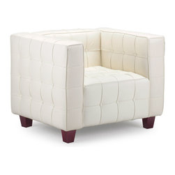 ZUO MODERN - Button Arm Chair White - With sophisticated ribbing and button pattern, the appropriately named Button series has all leather seating surfaces with leatherette back and sides and solid wood legs.