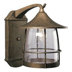 Progress Lighting - Progress Lighting Prairie Transitional Outdoor Wall Sconce X-68-4675P - From the Prairie Collection, this Progress Lighting outdoor wall sconce features a unique blend of mission/craftsman and prairie influencing that are sure to draw the eye in. The body features a warm and eye-catching Burnished Chestnut finish that pairs beautifully with the modern look of the clear seeded glass shade, ensuring this design will please and delight for years to come.