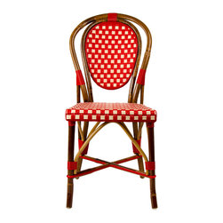 Mediterranean Bistro Chairs - Our most popular chair! These armless rattan-framed dining chairs are part of the iconic French bistros of Le Midi, or the south of France. Hand-woven and artisan crafted, these French style bistro chairs in bright synthetic material, will add a pop of color to your outdoor or indoor space.