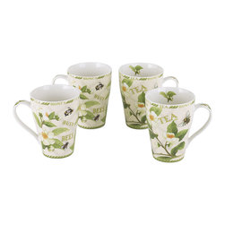 Cardew Design - Tea Plant & Honey Bee Bone China Mug - Set of Four - Perfect for tea lovers of all ages, this charming set serves up Earl Grey with a dash of whimsy. Featuring very fine bone china construction, it remains super sturdy and easy to clean. �� Includes four mugs Holds 15 oz. Porcelain Dishwasher- and microwave-safe Imported