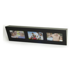 Decorative Espresso Wall Shelf with Buit in Frames