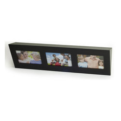 Danya B. - Decorative Espresso Wall Shelf with Buit in Frames - Picture this handsome shelf in your life. The espresso finished wedge hangs on the wall with hardware included, and holds an endless array of decorative items on the top ledge. The front features frames sized for three of your favorite 4-by-6 photos.