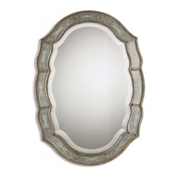 Uttermost - Fifi Antiqued Gold Leaf Oval Mirror - This decorative mirror features a narrow inner and outer frame finished in heavily antiqued gold leaf with etched, antique mirrors. Center mirror has a generous 1 1/4 inch bevel.