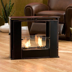 "Wildon Home � - Kilgore Portable Fireplace - Features: -Suitable for indoor / outdoor use.-5mm tempered glass sides.-Enliven any space with this corner gel fuel fireplace.-Sits conveniently on the floor in any room for instant relaxation.-Hold up to 2 cans of fireglo gel fuel.-Provides rich fiery glow.-Gel fuel must be purchased separately.-Durable.-Portable design moves anywhere.-Makes a convenient and unique space for burning and displaying candles, simply by placing the included snuffer cover on top of the gel fuel can openings.-Metal sheet construction.-Black finish.-Each can lasts up to 3 hrs on a single burn and puts off up to 3000 BTU.-Provides up to 6000 BTU of heat output.-Distressed: No.Dimensions: -Overall Height - Top to Bottom: 20.25"".-Overall Width - Side to Side: 24"".-Overall Depth - Front to Back: 8.25"".-Overall Product Weight: 20 lbs."