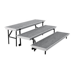 National Public Seating - National Public Seating Transport 3-Level Straight Riser in Gray - The trans-port unit by National Public Seating eliminates the need to setup multi level risers. The Trans-port is a unitized three-level carpeted choral riser that conveniently allows set-up in seconds. The Trans-Port folds up into a compact package that transports easily with it's built in rolling casters, making it easy to transport from room to room and load into a vehicle. Built with 14 gauge legs our unit is strong, safe and durable. The Trans-port is built with a sturdy aluminum frame, making it much lighter than a steel frame unit but is just as strong. Connect multiple straight or tapered units to create a variety of configurations. Neutral Gray carpet surface on a Gray frame. Available in straight and tapered models, with optional guard rails for use in open areas where the risers are not backed up to a wall.