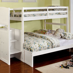 White Bunk Bed with Stairs - Attractive, stylish twin over full bunk bed in white with steps and storage drawers