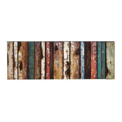 Multicolored Rustic Metal Wall Plaque - 71W x 22H in. - Looking fresh from an old barn or shop, the Multicolored Rustic Metal Wall Plaque - 71W x 22H in. creates a rough-hewn, rustic appeal in any space. Shades of brown, red, white, and blue in a banded pattern draw the eye, while the heavily distressed finish instantly evokes yesteryear. The plaque is crafted of high-grade metal, and you can display it in practically any space - even over a bed headboard for a distinctive design statement.