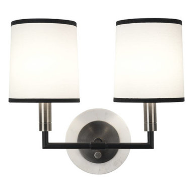 Robert Abbey - Robert Abbey Axis Double Sconce D2137 - Blackened Antique Nickel Finish with Matte Black Accents