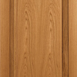 Homestead Doors, Inc - Solid Oak 1-Panel Wood Door with Fluted Trim and Rosettes - This solid Oak 1-Panel door features decorative fluted trim around the panel and rosettes in the corners. The cathedral grain pattern is easily seen in the large panel of this door. This door has a clear finish, but oak can be stained to coordinate with the color scheme of your home. This traditional design would be an excellent fit in any colonial or country style home.