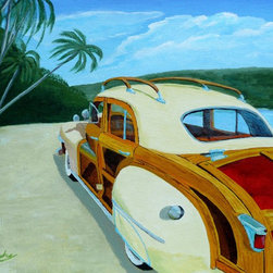 Beach Woody, Original, Painting - A classic shiny car and a pristine beach make artist Anthony Dunphy's acrylic portrait of a Chrysler Woody a car lover's dream. Hang it on the wall in your office and escape to your own happy place anytime you need a breath of fresh air.