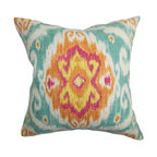 """The Pillow Collection - Deandre Ikat Pillow Blue Orange - Transform your living space by decorating this vibrant throw pillow. A large ikat pattern decorates this stylish accent pillow. A bright color palette with shades of orange, yellow, pink, blue and white are featured in this square pillow. Mix and match other patterns like stripes, plaid and zigzag with this 18"""" pillow for added texture. Made of 100% soft cotton material. Hidden zipper closure for easy cover removal.  Knife edge finish on all four sides.  Reversible pillow with the same fabric on the back side.  Spot cleaning suggested."""