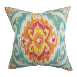 "The Pillow Collection - Deandre Ikat Pillow Blue Orange 18"" x 18"" - Transform your living space by decorating this vibrant throw pillow. A large ikat pattern decorates this stylish accent pillow. A bright color palette with shades of orange, yellow, pink, blue and white are featured in this square pillow. Mix and match other patterns like stripes, plaid and zigzag with this 18"" pillow for added texture. Made of 100% soft cotton material. Hidden zipper closure for easy cover removal.  Knife edge finish on all four sides.  Reversible pillow with the same fabric on the back side.  Spot cleaning suggested."
