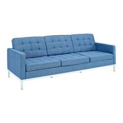 """Swanky Sofa in Blue - Kick back and relax in urban chic style with this Swanky Sofa in Blue. Featuring a plush tufted seat and a sleek, modern shape, this sofa is perfect for creating a hip and stylish pad. This 90.5"""" wide sofa also allows ample space for friends and family to lounge about; feel free to spread out in sturdy comfort. Your friends just may be secretly envious of this addition to your space. Invite this classy sofa into your house and make it home."""