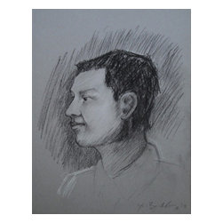 Self Portrait, Original, Drawing - This is a recent self portrait done in chalk pastel. I struggle with the awkwardness of my drawings sometimes, often not wanting to show them. This is particularly true for self-portraits, but nonetheless, here one is.