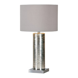 Ren-Wil - Ren-Wil LPT265 Table Lamp - This modern lamp has a mercury glass body with a fine line pattern resting on a chrome plated square base with a clear cord. It has a tri-light socket with an grey trimless linen drum shade.