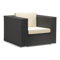 ZUO VIVA - Cartagena Armchair Espresso - One of Zuo's favorite. Enjoy perfect seating and comfort, while the design, looks and style create a perfect ambiance for a relaxing evening or a fun party. The Cartagena collection is a modular outdoor set, capable of seating a sectional, loveseat, armchair and coffee table. The frames are constructed from epoxy coated aluminum and the weave from UV treated polypropylene for maximum resistance against the weather elements. The Table has a 10 mm thick clear tempered glass top, and the cushions are made with a UV and moisture resistant washable polyester fabric. The Cartagena has the looks and comfort that gives your patio, terrace, porch or backyard a contemporary and elegant look. Don't forget to accentuate your Cartagena with some colorful Laguna cushions.