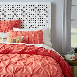 Organic Cotton Pintuck Duvet Cover + Shams, Bergamot - Dark, warm colors work well for fall and winter, but I like something bright for spring. This coral is beautiful and lively.