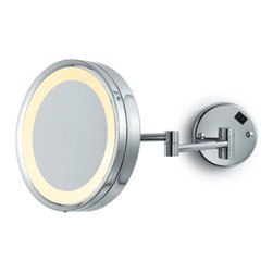 Electric Mirror - EMHL10 Makeup Mirror - Wall mounted make-up mirror available in brushed nickel or polished chrome finish. Features 5X magnification and adjustable double arm. 25 watt incadescent bulb included. 9W x 9H.
