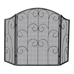 Uniflame - Uniflame S-1015 3 Panel Black Wrought Iron Screen w/ Decorative Scroll - 3 Panel Black Wrought Iron Screen w/ Decorative Scroll belongs to Fireplace Accessories Collection by Uniflame