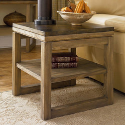 """Hammary - Spaces Square End Table in Natural Dirftwood with Antique Copper Tin Finish - """"Taking inspiration from raw, authentic farmhouse design, the Spaces collections offers occasional tables for today's modern lifestyle. A true mark of craftsmanship can easily been seen in the use of a Natural Driftwood frame with a unique Antique Copper tin table top. Staying true to farmhouse style design, the lines,edges and silhouettes of each piece are simplistic in form with a clean, straight formation."""