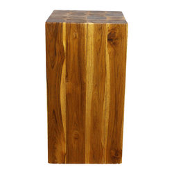 Kammika - Block Hollow Farmed Teak Wood 12x12x23 inches H w Eco Friendly Livos Oak Oil Fin - Our Farmed Teak Sustainable Wood Block Hollow 12 inch square x 23 inch height Block Hollow with eco friendly, natural Livos Oak (honey brown) Oil is made to look like a block of squares, but are easily transported, as inside is hollow. On the ends is a collage of tree rings from each branch that is squared to make this visually stunning block of Farmed Teak Wood. This impressive piece can be placed together to form a side or hallway entry table. They can be used in pairs to create a party dining area; or can be used in the pool, patio, or garden area. This item also comes in a 12 inch square by 18 inch height size to enjoy indoors or outdoors. Classic lines made with Farmed Teak expose the natural grain of the logs. Eco friendly Livos Oak Oil finish creates a water resistant and eco friendly food safe finish. The light and dark portions of wood turn to darker shades of brown over time and the alkaline in the oils creates a honey orange color finish. These natural oils are translucent, so the wood grain detail is highlighted. There is no oily feel and cannot bleed into. Hand crafted from a sustainable Thai Farmed Teak wood species, we make minimal use of electric hand sanders in the finishing process. All products are dried in solar or propane kilns. No chemicals are used in the process, ever. We use only certified Green Livos oils - eco friendly, all natural, water resistant, and food-safe. Each eco friendly functional art piece is packaged with cartons from recycled cardboard with no plastic or other fillers. As this is a natural product, the color and grain of your piece of Nature will be unique, and may include small checks or cracks that occur when the wood is dried. Sizes are approximate. Products could have visible marks from tools used, patches from small repairs, knot holes, natural inclusions or holes. There may be various separations or cracks on your piece when it arrives. There may be some slight variation in size, color, texture, and finish color.Only listed product included.
