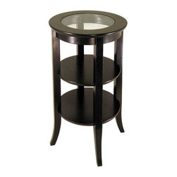 "Winsome Wood - Three Tier Pedestal Table w Glass Top - You'll love this pedestal table for its double shelf styling and traditionally warm look. Perfectly suited for family photos and small collectibles, it also has the added beauty of a glass inset top. Tapered legs give it an updated flair that's complemented with an espresso finish. This distinctive three level pedestal table stands just over 30"" high and provides a pair of round lower shelves for your treasured display items! Showcase your most prestigious vase, lamp, bust, or work of art with the exquisitely round Genoa pedestal table. * Espresso finish. 17.72 in. x 17.72 in. x 30.2 in. H"