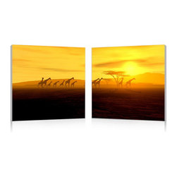 """Wholesale Interiors - Glorious Giraffes Mounted Photography Print Diptych - Ambling across the sun-drenched savanna, giraffes cast an elegant silhouette against the African sky. This inspiring photograph makes for a beautiful addition to any home or office interior. Made in China, the Glorious Giraffes Modern Wall Art Set is constructed with two MDF wood frames, each displaying half of the image on a sheet of waterproof vinyl canvas. This diptych is fully assembled and ready to hang, though mounting hardware is not included with purchase. To clean, wipe with a dry cloth. Product dimension: 19.68""""W x 1""""D x 19.68""""H."""