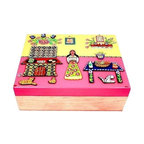 """Used Handcrafted Jewerly Wooden Box - Mexico's vibrant folk art with a collection of home decor pieces made by skilled local artisans like this brilliant box made in Michoacan. This piece measure 10""""W x 8""""D x 3.5""""H. perfect for all of your keepsakes."""